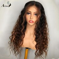 Atina Ombre Honey Blonde Colored Curly HD Transparent Lace Part Human Hair Wigs Preplucked Bleach Knot Remy Wig Full Closure 250