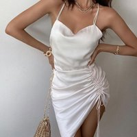 Casual Dresses Women Sexy Suspender Dress Summer Solid Color Pleated Drawstring Backless Party Club Short Slip Sundress 2021 Arrival