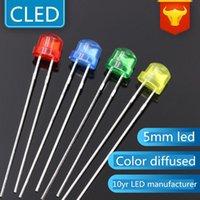 Bulbos 1000 pcs 5mm chapéu de palha LEDs lâmpada branco / vermelho / verde / azul / amarelo / branco cor difusa lâmpada LED Lightin Diodo