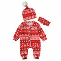 Jumpsuits Baby & Children's Born Boys Girls Romper Long Sleeve Headband Hat Outfits Clothes 3Pcs