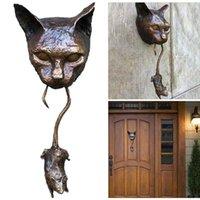 Y el ornamento del ratón Oxidado marrón de hierro fundido de hierro fundido gato amantes de la pared cuello de la pared decoración artesanía estatuillas resina colgante