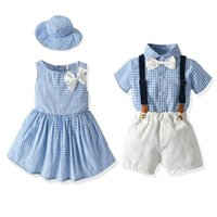 Clothing Sets 2021 Summer Baby Girls Dresses Send Hats Boys Checked Shirts Pants Suits Parent-Child Seaside Vacation Costume 0-6 Years Old