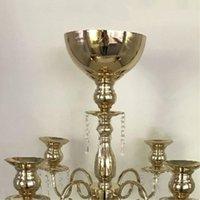 "Candle Holders Gold Candelabra 91CM   35.8"" Metal Wedding Candelabrum With Flower Bowl Candlesticks Rack For Home Decor"