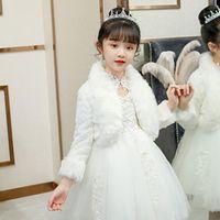 Quente casaco de pele falsado meninas festa de ombros de ombros crianças bolero branco bolo de casamento branco frisher meninas bolero jaqueta capa de pele xaile