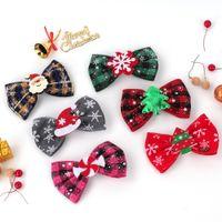 Clip de arco del accesorio para el cabello de la Navidad del niño para la niña Copla de nieve de la tela escocesa de Santa Claus de Papá Noel Barrettes de la cabeza de la cabeza