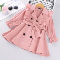 Jackets Bear Leader Toddler Girls Clothes Autumn Winter Long Sleeve Fashion Trench Coats Children Solid Outerwear With Sashes Costume