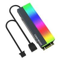 منصات تبريد الكمبيوتر المحمول Coolmoon M2 SSD Heatsink 5 فولت 3pin argb nvme ngff m.2 2280 الصلبة حالة القيادة الصلب القرص المبرد برودة الصدرية الوسادة الحرارية