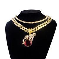 """Collane pendenti Karopel Gold Color Gold Color Leopard Red Stone Collana Hip Hop Catena Hop per uomo Donna 18 """"Miami cubano 16"""" 1 set di tennis a riga"""