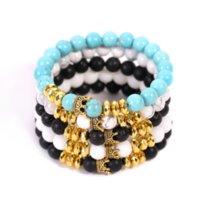 Naturstein Lava Felsen Türkis Perlen Stränge Armbänder Retro Krone Armband Armband Frauen Männer Modeschmuck Wille und Sandy White Blue Black