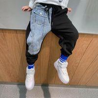 Eayin Boys Pants Fashion Jeans Patchwork Trend Sport Sport Casual Primavera Autunno Teaege Bambini Pantaloni per bambini Bambini Pantaloni per bambini