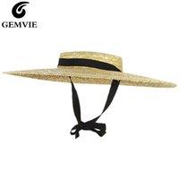 Gemvie Nova Grande Brim Palha Chapéu de Palha Verão Chapéus Para Mulheres Ribbon Beach Cap Boater Plano Top Sun Hat Y0223