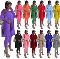 النساء قطعتين السراويل الدعاوى المصممين الملابس 2021 طويلة الأكمام قميص طماق رياضية الصلبة متوسط طول سبليت البلوزات زائد الحجم
