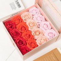 Dekoratif Çiçekler Çelenkler 25 adet 8 cm Büyük Yapay Gül PE Köpük Gelin Buket Aksesuarları DIY Düğün Ev Dekorasyon Karalama Defteri Fak