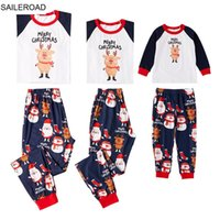 Family Matching Outfits SAILEROAD Clothes Mother Daughter Son Kids Baby Long Sleeves Parent-child Christmas Deer Pajamas Set