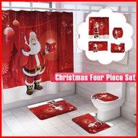 Bath Accessory Set Merry Christmas Bathroom Snowman Santa Claus Elk Pattern Waterproof Shower Curtain Toilet Cover Mat Non Slip Rug Home Dec