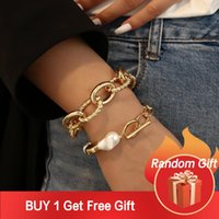 Charm Bracelets Flashbuy Punk Imitation Pearl Gold Thick Chain For Women Men Chunky Bangles Trend Party Jewelry Friendship Gift