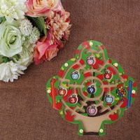 Apple Tree Wooden Magnetic Pen Maze Game Labyrinth Kids Learning Education Toys R9JD H1009