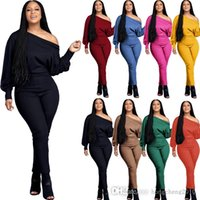 Women Jumpsuits Fashion Pit Striped Cloth Long Sleeve One-shoulder Loose Onesies Solid Colour Plus Size Pencil Pants Pink Rompers