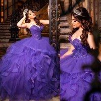 2021 violet Rufles Quinceanera robe robe de bal chérie Cristal Perles Perles Plus Taille Tulle Tiotsed Sweet 16 Vestido de 15 Anos Formel Formal Soirée Robes de soirée