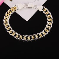 Classic 925 Stamp Silver Plated Men Bracelets Jewelry Unique 10MM Gold Curb Chain Charm Men Bracelets Jewelry Mix style ps1590