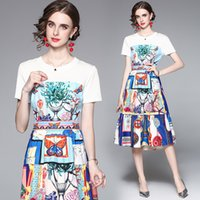 Summer Dress for Women High End Printed Dress Short Sleeve Round Collar Ladies Dresses Fashion Casual Printed Dress