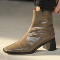 Boots Genuine Leather Women's Shoes 202120 Winter Autumn Office Square Heel Ankle 34-40 Size Toe 6cm High Heels Booties