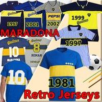 BOCA Juniors Retro Soccer Jerseys 1981 1997 1999 2001 2002 Diego Maradona Tévez Gago Vintage Klassische kurze Longsleeves Männer Fußballhemden Uniformen