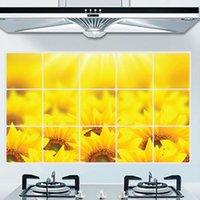 Золотой подсолнечник пастырский стиль ресторан кухонная плита фон украшение декоративной стены стикер