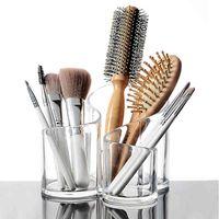 Transparent plastförvaring Box Makeup Borstläpptick Kosmetisk arrangör Make Up Verktyg Pen Hållare Rack Smycken Display