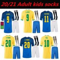2021 Brasil Soccer Jerseys Neres Coutinho Brazils Camicia da calcio Set Gesù 20 21 Marcelo Camiseta de Futbol uomo Kit da uomo Kit calzini