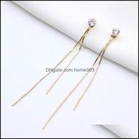 & Chandelier Jewelry Fashion Long Chain Tassel Dangle Hanging Gem Stone Rhinestone Earrings For Women Girls Jewelry Brincos Bijoux Drop Deli