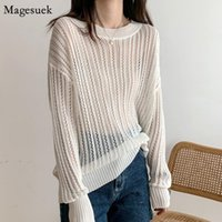 Women's Blouses & Shirts Autumn Women Retro Thin Loose Lady Tops Chic White Blouse Korean Hollow Out Sunscreen Sweater Long Sleeve Shirt 157