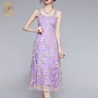 Robes décontractées 2021 Été de luxe fleur de broderie fête ES dames Sexy Spaghetti Strap Midi Vestidos Vêtements pour femmes HPUA