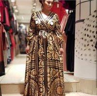 Africano Ankara Vestidos Para As Mulheres África Roupas Femininas Lady Roupas Veste Plus Size Africaine National Popular Print Vestido Longo X0521