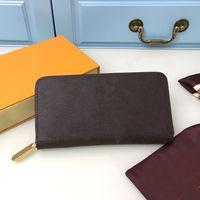 Unisex-Reißverschluss lange quadratische Frauen Standard-Geldbörsen beschichtete Leinwand-Blumen-Druckleder Innenkartenhalter Reißverschluss Taschenmode-Damen-Brieftaschen