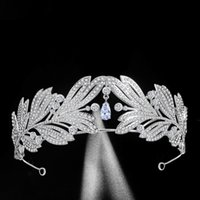 Handgemachtes Zirkon Legierung Strass Krone Silber Farbe Tiara Braut Hochzeit Headboice Frauen Kristalle Haarschmuck Jl
