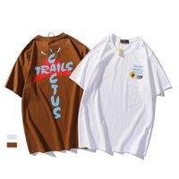 높은 거리 패션 Travis Scott T 셔츠 선인장 트레일 러닝 편지 인쇄 디자이너 짧은 소매 남자의 둥근 목 코튼 티셔츠