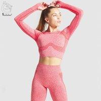 Yushuhua 2021 Novo sem costura yoga conjunto mulheres 2 peça set esportes de manga comprida de manga fitness top ginásio alta cintura leggings sportswear