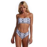 Bikini 2021 Europa y América MS Tubo de impresión dividida Top Sexy Beachwear moda traje de baño con pecho de pecho sin un nuevo estilo nuevo