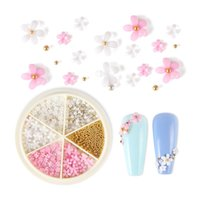 Nail Art Decorations Pink White Acrylic Flower Rhinestone Mix Size Steel Ball Supplies For Professional Manicure Decoration Accessories