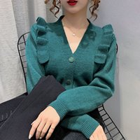 Women's Sweaters Female cardigan with ruffled feathers and v-neck, short knitted jacket for fall, Japanese style X1FL