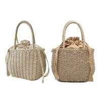 Evening Bags Woven Straw Beach Bag Female Vintage Drawstring Handbag Bohemian Top Handle Basket Purse Women Travel Shoulder Shopping Tote