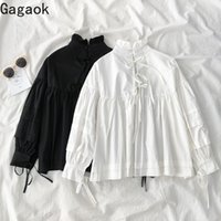 Gegaok Donne Streetwear Camicetta Primavera Autunno New Solid Stand Stand Puff Sleeve Lace Up Slip casual Casual Shirt Fashion Fashion Shirts Top 210315