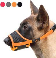 كلب كمامة نايلون لينة كمامة مكافحة العض نباح آمن شبكة تنفس الحيوانات الأليفة غطاء الفم للكلاب الصغيرة المتوسطة 4 ألوان 4 أحجام