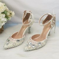 Sandals Tassel Crystal Womens Wedding Shoes Thin Heel Party Dress Fashion Woman High Pumps Ivory Pearl Ankle Strap
