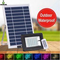 18W 솔라 투광 조명 RGB 야외 조명 방수 LED 투광기 원격 제어 LED 스포트라이트 정원 장식 빛