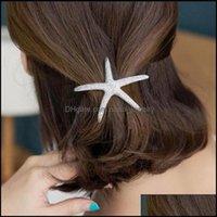 Horquillas Joyas de la joyeríaContenedora de estrellas Starfish Sparkling Mar-Star Artificial Crystal Pin para las mujeres Barrettes Ponillo de caballo Caballo de la boda Cabello de la boda DROP