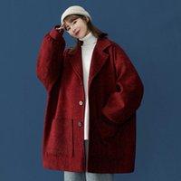 Women's Laine Blends Mode Femmes Simple Courtiers Manteau 2021 Hiver Coréen lâche Outwear à manches longues surdimensionnées femmes chaudes épaisses laine ja