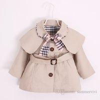 Designer Baby Girls Scialle Trench Coat Bambini Plaid Archi Tie Bavero Manica lunga Outwear Bambini Singolo Bresed Belt Belt Princess Abbigliamento Q2088