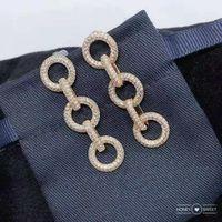 Donne lunghe Micro-zirconi Ins creativi orecchini multicolore Classico forma rotonda Multi-Color Ear Gioielli Banchetto regalo